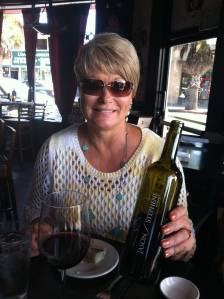Two angelic sights: our hostess and her wine recommendation.